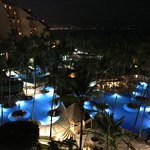 This is a view from our room on the 7th floor over looking the resort at night