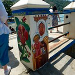The pillars on this pier were all colourfully decorated with paintings depicting culture and his