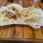 Blacked Baja Shrimp Tacos with onion straws