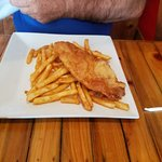 Fish and Chips, I was surprised then they said the fish was catfish. It didn't taste like it