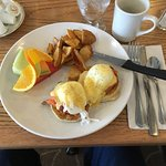 The best eggs Benedict anywhere! Usually with tomato and mushrooms, sometimes with smoked salmon