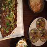 Sticky pork ribs with sweetcorn and steak tacos with creamy potatoes