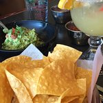Great margaritas and freshly made guacamole at our table.