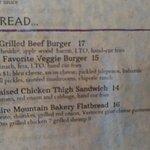 excerpt from menu