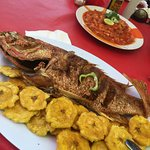 Fried fish and plantains at one of the local outdoor restaurants.