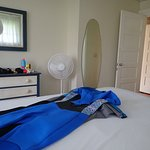 Our room - those are our wetsuits (dry) on the the bed.