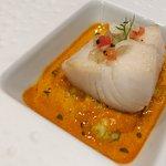 Black cod, saffron potato puree, langoustine broth