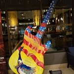 The larger than life guitar in the lobby.