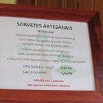 Ingredientes e preços.