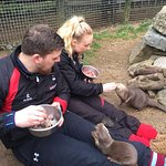 Billy and myself feeding the Otters