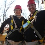 Harnesses on and ready for our first zip.