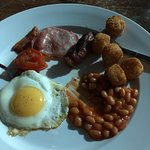 Traditional breakfast - tsp beans, microwaved sausage, bacon & egg - all a bit like warm. AVOID