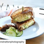 Grilled Adirondack Cheddar w Avocado + Onion Jam & Pickles
