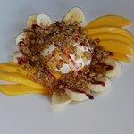 Healthy brunch / lunch, Greek yogurt, granola, mango, banana and honey
