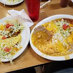 My large combination plate, smothered, with the taco and tostada on the side