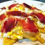 Breakfast at Tabanco Cambridge...Huevos rotos (cracked eggs over fried potatoes with ibérico ham