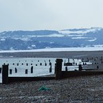 Winchelsea Beach March 2018 looking towards Fairlight and the Coastguard Station top right horiz