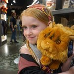 Posing with a stuffed Crookshanks in the Gift Shop.