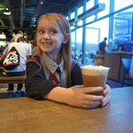 Enjoying some Butterbeer at the halfway point.
