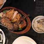 Coconut rice, Mixed grill (comes in sizzling platter), prawn crackers