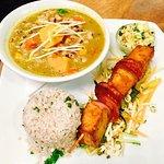 pot stew, rice and tofu/platain kebab