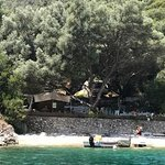 Small beach next to Mikros Gialos accessible by paddle boats