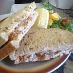 one of our crab sandwiches just about to be served to a customer