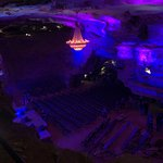 Chandelier above concert seating