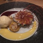 Plum tart with ice cream and millefeuille.