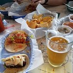 salsa trio, beer and tacos