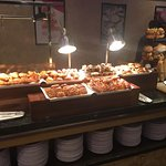 Lots of bread, pastry and toast choices on breakfast buffet