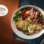 Poke Bowl Salad - Fresh Greens, Poke, Furikake Rice, Tomato, Avocado, Spicy Aioli Drizzle