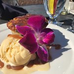 Most delicious Trodden Bread Pudding, with bourbon Carmel drizzled over------dessert menu to die