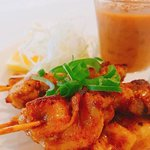 Satay Chicken - Marinated chicken with curry powder and coconut milk served with satey sauce