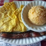 Henny Penny with scrambled eggs, sausage & cheesy hash browns