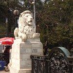 Marble lions guarding entrance