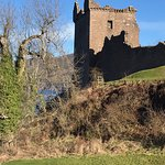 Urquhart Castle's tower, which was sadly undergoing maintenance
