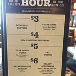 Happy Hour prices and times