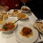 Lamb dish, pilau rice and garlic nan