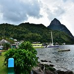 Soufriere fishing village and speed boat dock