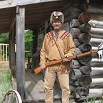This is the trapper at the trapper cabin. You can visit with him