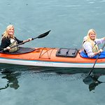 Two paddlers enjoy their afternoon trip