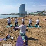 Yoga Class on Barcelona Beach