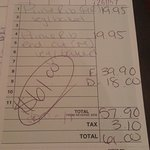 Fulgum's bill - overcharged us for the Prime Rib!!