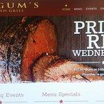 Fulgum's website advertising Prime Rib special for $17.95
