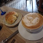 Marshmallow cappuccino with chocolate croissant