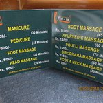 Massage Rate Card kept in the Room