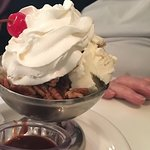 Notice the toasted pecans and the homemade fudge on this sundae.
