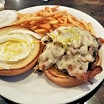 mushroom swiss burger with bacon, veggy remove