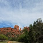 view of Cathedral Rock as you start on the trail from the trailhead